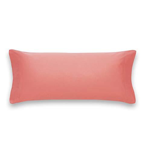 Sancarlos Básicos, Funda de Almohada Lisa, Algodón 100%, Color Coral, Cama de 90