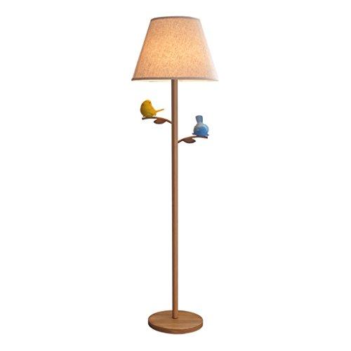 Tyannan Luz de madera nórdica moderna lámpara de pie de hierro de tela iluminación de la sala de estar Dormitorio Estudio de la lámpara vertical creativo Bird Lámpara de pie