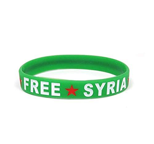 YSN Home Collection Armband Armreif aus Gummi 'Free Syria' Syrien Syrische Flagge Stern - Grün