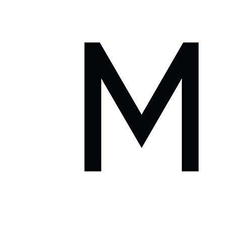 Buchstaben Aufkleber, wetterfest, einzelner Buchstabe M, schwarz, 10 cm (100mm) großgeschrieben