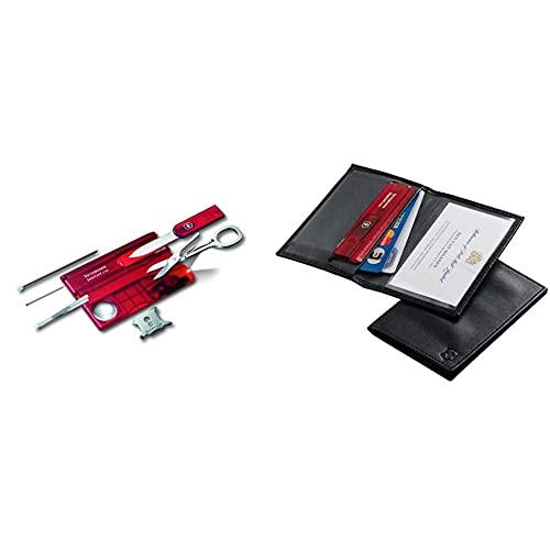 Victorinox Swisscard Lite, Color Rojo Transparente En Blíster, Led Blanco + 4.0873.L, Tarjetero Para Tarjeta De Crédito, Negro