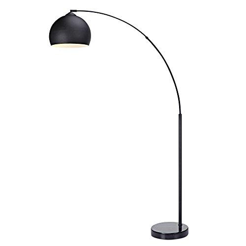 Versanora Arquer Lámpara de Piso Arco con Sombra y Base de Mármol, 50 W, Negro/Negro, 31x110x174cm