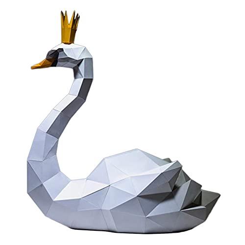 WLL-DP Couronne Cygne Forme Papier Sculpture 3D Papier Modèle Bricolage Papercraft À La Main Jeu Papier Jouet Origami Puzzle Géométrique Décoration De La Maison