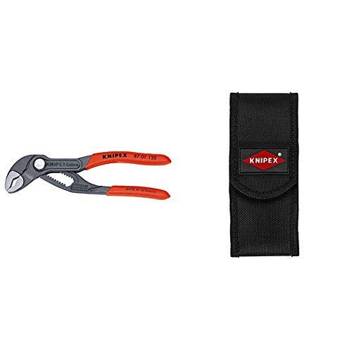 KNIPEX Cobra (125 mm) 87 01 125 SB (Produkt auf SB-Karte/im Blister) & 00 19 72 LE Gürteltasche für zwei Zangen