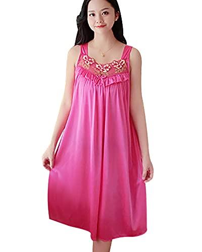 OADOBKICE Camisn Mujer Camisn Largo Mujer Camisn De Mujer Camisn De Mujer Barato Comfy Nightwear Seoras Ropa Dormir Barata Las Mujeres Mujeres Ropa De Dormir Personalizada Negro Rosa Roja M