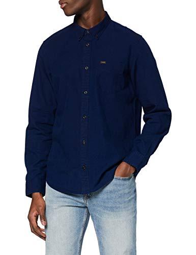 Lee Button Down Camisa, Navy, S para Hombre