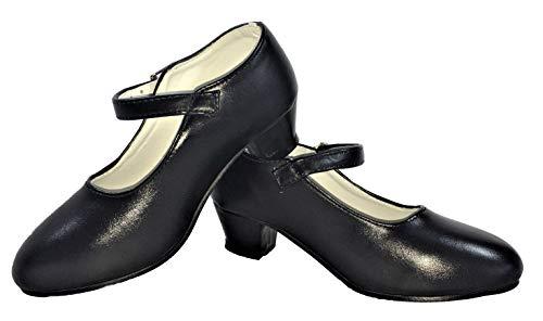 Zapatos de Flamenco, Sevillanas, Danza, Baile, para niña o Mujer. Color Negro.