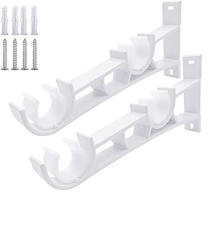 Staffa per aste per tende, doppio binario, montaggio a parete, ganci per aste per tende, lega di alluminio, 1 paio per asta da 28 mm-32 mm, (asta doppia, bianca)
