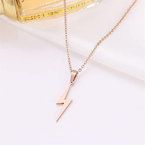 Collar de acero inoxidable de la moda de las mujeres Relámpagos Collares Mujeres Colgantes Golder Regalos Joyería *1* (Metal Color : Rose gold)