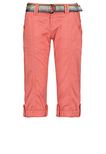 Fresh Made Damen Capri-Hose 3/4-Shorts mit Metallic Gürtel orange M