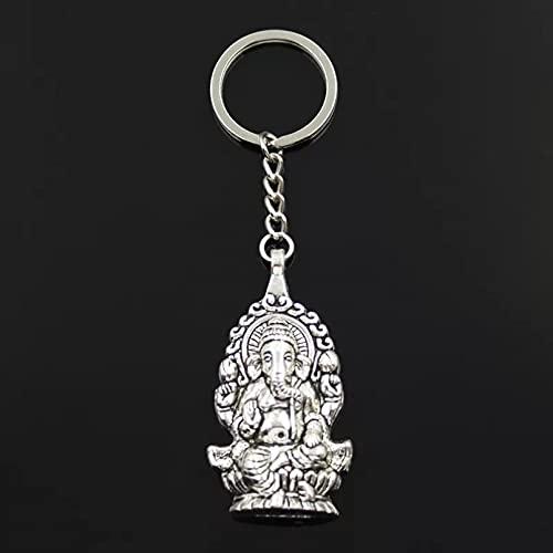 JINGRU Llavero de Moda 62x32mm Ganesha Buda Elefante Colgantes DIY Hombres joyería Coche Llavero Anillo Titular Recuerdo para Regalo