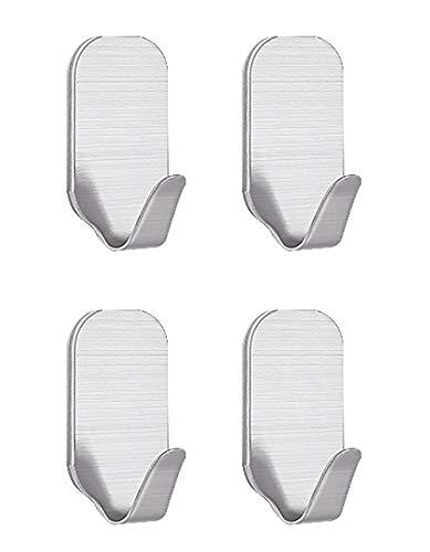 Self Adhesive Hooks 4Pcs, Stainless Steel Hooks Strong Adhesive Wall Hanger Self Adhesive Towel Hooks U Hooks