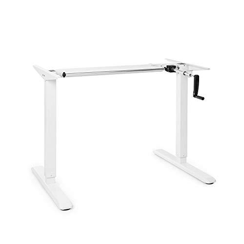 OneConcept Multidesk höhenverstellbarer Schreibtisch, Sitz- & Stehschreibtisch, Tischgestell, manuelle Steuerung: Faltkurbel, höhenverstellbar: 73-123 cm, breitenverstellbar: 100-160 cm, weiß