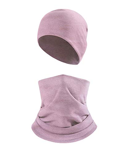 2Pcs Winter Beanie and Neck Gaiter Set for Men Women,Windproof Face Scarf Balaclava for Skiing/Hiking(Wolfram Pink)
