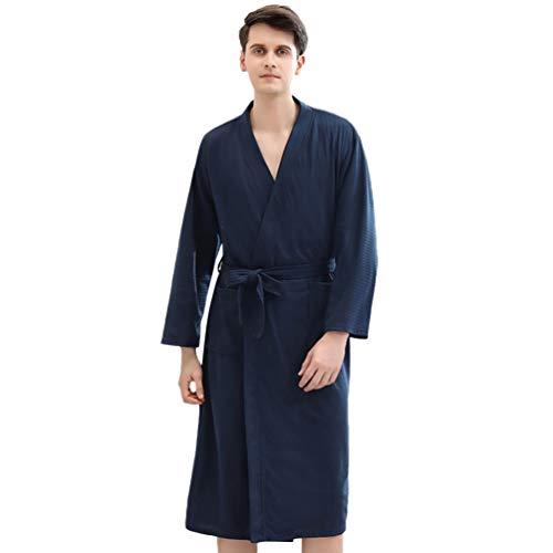 KESYOO quimono para casais masculino e feminino de manga comprida com cinto removível para spa e hotel, Azul marino, XL