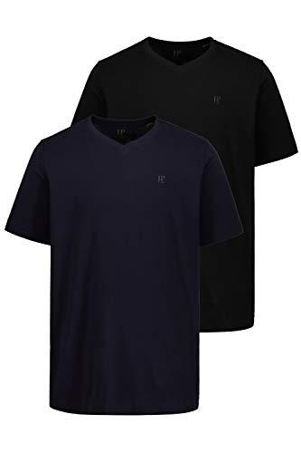 JP 1880 Herren große Größen bis 8XL | T-Shirt 2er Pack | V-Shirt, V-Ausschnitt, Halbarm | Basic Doppelpack, Reine Baumwolle | schwarz | schwarz, Navy L 711318 10-L