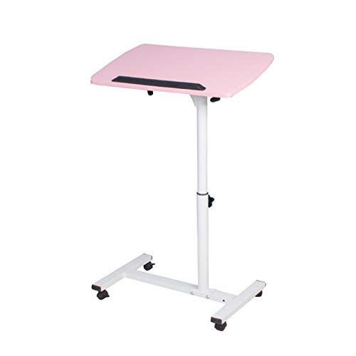 Home Office Meubel-LiuJF Liftable Tafel, Slaapbank Zijkant Laptop Tafel Woonkamer Beweegbare Tafel Klas Bureau Roze Wit Patroon Verdikte plaat 54 * 32 * 62~88cm roze