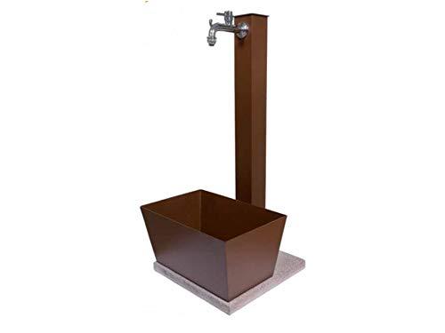 BEL FER Fontana in Metallo da Giardino con capiente vaschetta Rettangolare e Base in Cemento 40 x 40 cm, Modello 42/QVR, Colore Ruggine