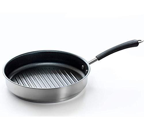 Coolinato Pfanne 26cm Edelstahl Grillpfanne beschichtet für Gas Ceran Elektro Induktion und Backofen, spülmaschinengeeignet