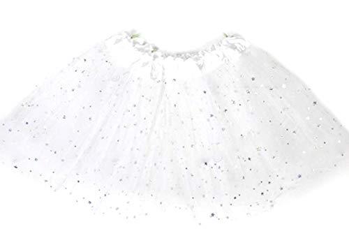 Rok - tule - meisje - wit - rok - carnaval - 2 lagen - dans - ballerina - accessoires - tutu - kleding - een maat - 3/8 jaar - idee verjaardag kerstcadeau glitter
