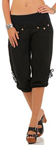 Malito Damen Capri Hose aus Leinen | Stoffhose in Unifarben | Freizeithose für den Strand | Chino - Kurze Hose 6302 (schwarz, L)