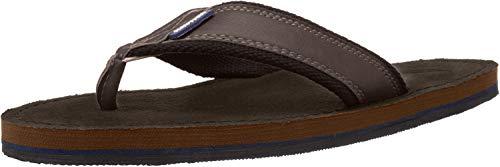 Nautica Men's Tayrona Flip Flop, Rustic Style Fabric Lined, Beach Sandal-Dark Brown-10