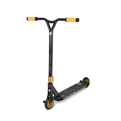 Riprail Semi Pro 1 Performance Stunt Scooter with Alloy Deck, Alloy Core Wheels, ABEC-9 Bearings, Alloy NECO Threadless Headset, Alloy CNC Machined Fork, 2 Pegs and Gold Components