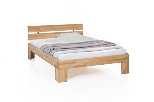 Unbekannt Massivholz-Bett Nano 160 x 200 cm aus Kernbuche, Doppelbett, als Ehebett verwendbar, inkl. Rückenlehne, 1 Bett á 160 x 200 cm