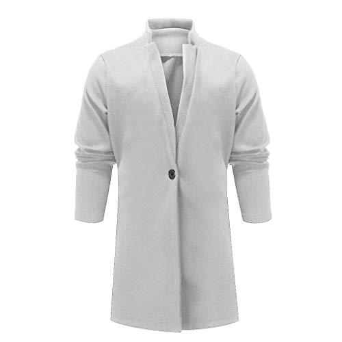Qinhanjia Lange Herren Strickjacke mit Kapuze Reißverschluss Slim Fit Open Front Longline Cardigans mit Taschen, Einfarbiger Windbreaker Wollmantel (Beige, L)