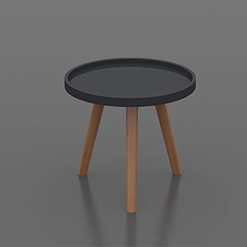 ZXQZ zhuozi Table Basse Ronde, Mini Salon Moderne Minimaliste, Table Basse en Bois Massif Bureau Pliant (Couleur : Noir, Taille : 40 * 40cm)