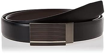 PERRY ELLIS Men s Portfolio Patterned Plaque Belt Black/Brown Reversible 40