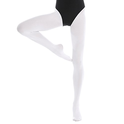 Bezioner Kinder Ballett Strumpfhose Tanzstrumpfhose mit Fuß für Kinder und Damen Weiß 1 Paar M