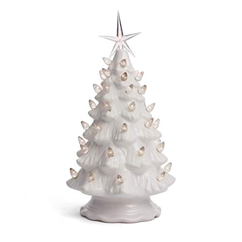 Milltown Merchants Ceramic Christmas Tree - Tabletop Christmas Tree with Lights - (11.5' Medium White Christmas Tree/White Lights) - Lighted Vintage Ceramic Tree