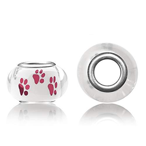 Ganzoo Juego de 10 cuentas para joyas con diseño de huellas de perro, ideal para pulsera Paracord 550, collar o correa (blanco y rosa)