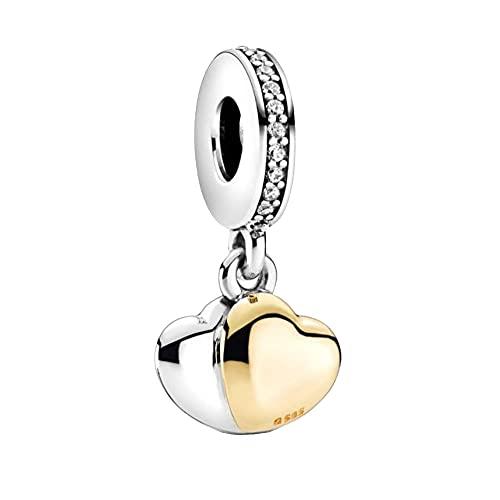 Pandora 925 colgante de plata esterlina Diy nuevas cuentas de doble corazón cuelgan pulsera a juego con adornos navideños originales