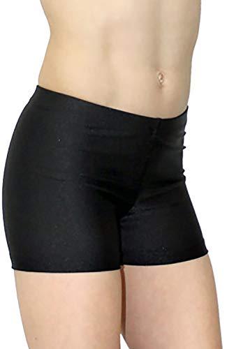 Turnanzug-GymStern Shorty Hotpants Sporthose Kinder & Erwachsene Lycra Hipster komfortabel Kurze Fitnesshose Mädchen & Damen Hot Pants Farbe Schwarz, Größe 176 (16 Jahre)