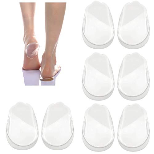 4 Pairs Orthopedic Insoles for Men and Women, Medial & Lateral Heel Wedge Silicone Shoe Inserts, Height Increase Shoe Pad for Corrective Pronation, Supination, O/X Type Leg Corrective (Transparent)