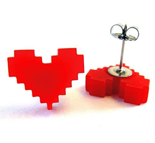Pixel Heart Earrings, Stainless Steel Stud Earrings, 8 Bit Video Game, Red Heart Studs