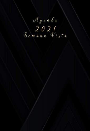 Agenda 2021 semana vista: agenda anual 2021 A6   negra  12 meses enero a diciembre 2021 - español  Planificadora diaria y mensual , planner para hombre y mujer calendario bolsillo