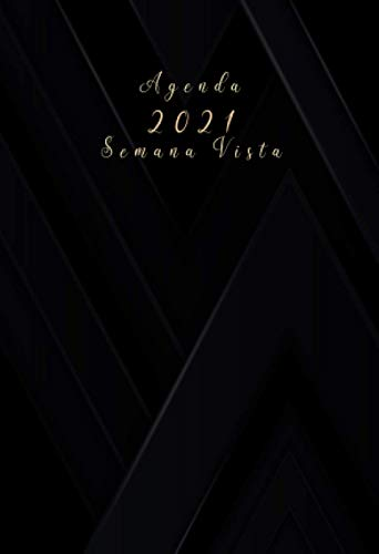 Agenda 2021 semana vista: agenda anual 2021 A6 | negra |12 meses enero a diciembre 2021 - español| Planificadora diaria y mensual , planner para hombre y mujer calendario bolsillo ⭐