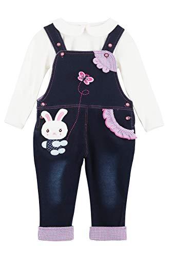 Bebé Infante Niñas Denim Pantalones de Peto y Manga Larga Camisa Set - Algodón Jeans Pantalones con Tirante...