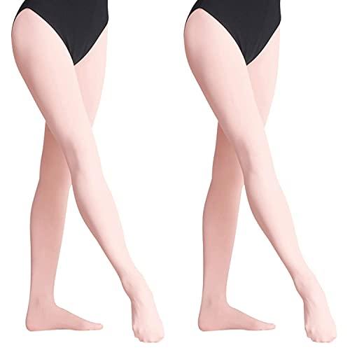 Yuanj Collant da Ballo Balletto per Bambina, Calzamaglia con Piedi per Danza Classica, 2 Paia di Collant da Danza Ultra Morbidi con Altamente Elastiche - XS