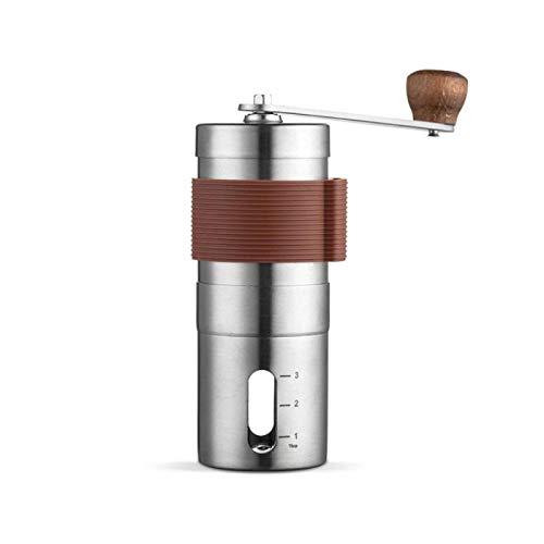 Liuying Tragbare Hand-Kaffeemaschine, Kaffeemühle, Edelstahl, manuelle Kaffeemühle für Reisen und Camping