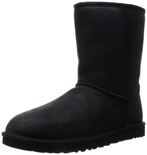UGG - Klassisch kurz mit Verzierung Herren , Schwarz (Black Leather), 43 EU