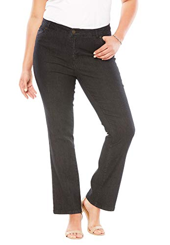 Roamans Women's Plus Size Bootcut Jean with Invisible Stretch - 32 W, Stonewash Sanded