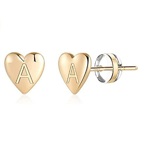 YXDS Pendientes de botón con Inicial de corazón para niñas S925 Pendientes con Letras delicadas de Plata esterlina Pendientes con Iniciales pequeños para Mujeres y niñas