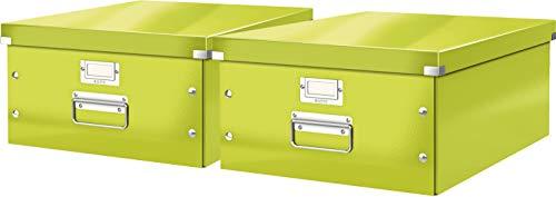 Leitz, Große Aufbewahrungs- und Transportbox, Mit Deckel, Für A3, Click & Store (Grün | 2er Pack)