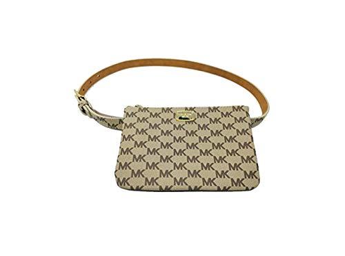 "New Michael Kors Logo Fanny Pack Belt Wallet Size Medium 31-34"" Waist Purse Bag Khaki Brown"