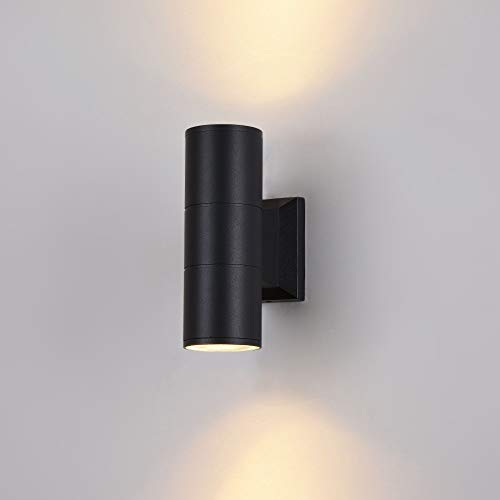 Applique murale exterieur, style moderne, armature en aluminium couleur noir, plafonnier cylindrique en aluminium couleur noir, pour maison, escalier, terrasse 2 ampoules excl. 2xGU10 IP54 230V
