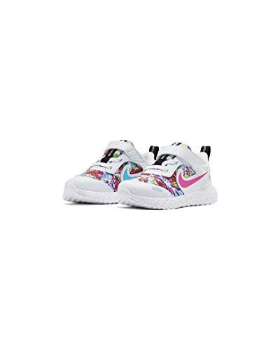 Nike Revolution 5 Fable (PSV), Sneaker, Blanco-Fire Pink-Blue Fury, 34 EU